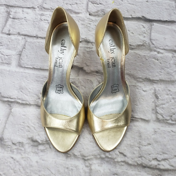 99a3740573 Cathy Jean Shoes | Womens Gold Opentoe Leather Heels | Poshmark
